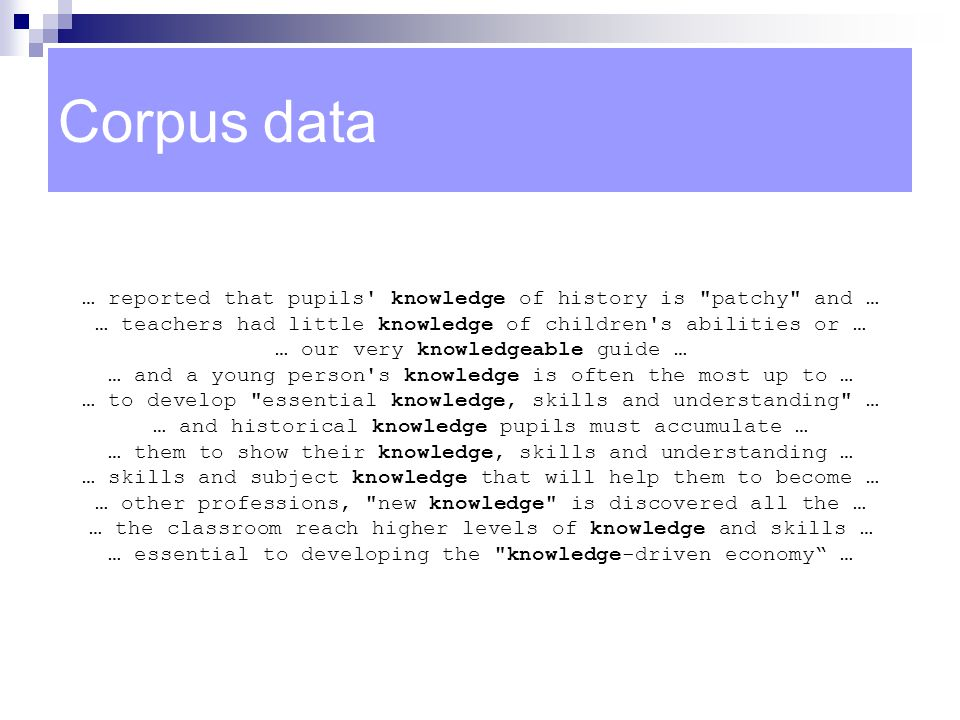 Corpus data … reported that pupils knowledge of history is patchy and … … teachers had little knowledge of children s abilities or …