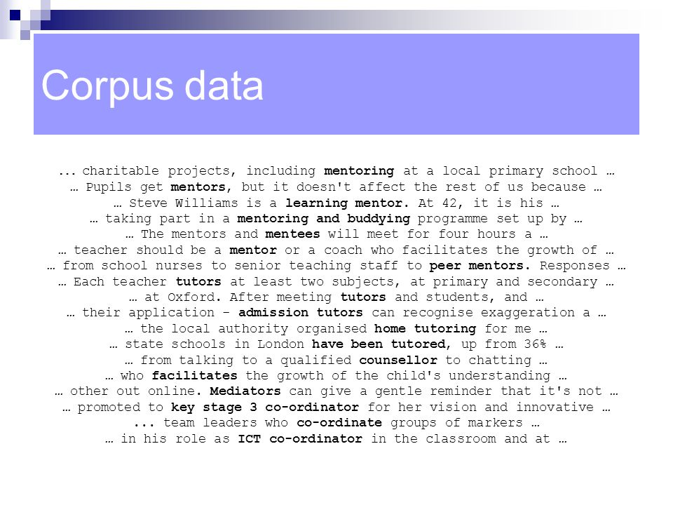 Corpus data … charitable projects, including mentoring at a local primary school …