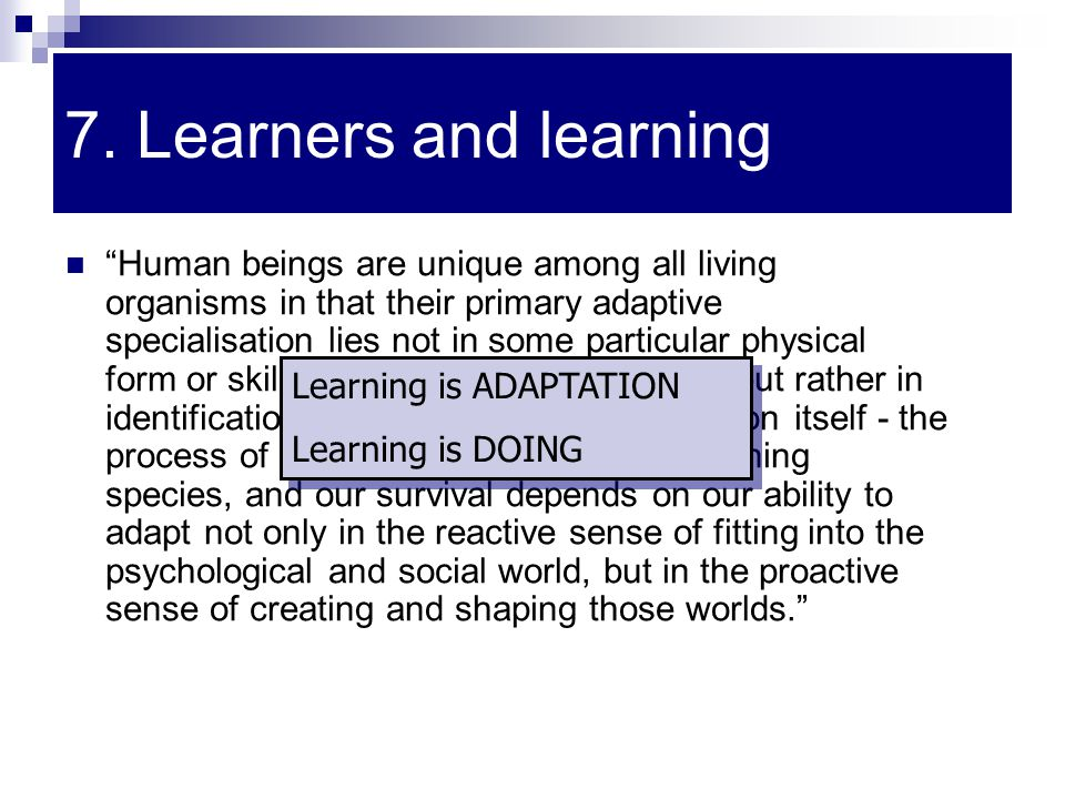 7. Learners and learning