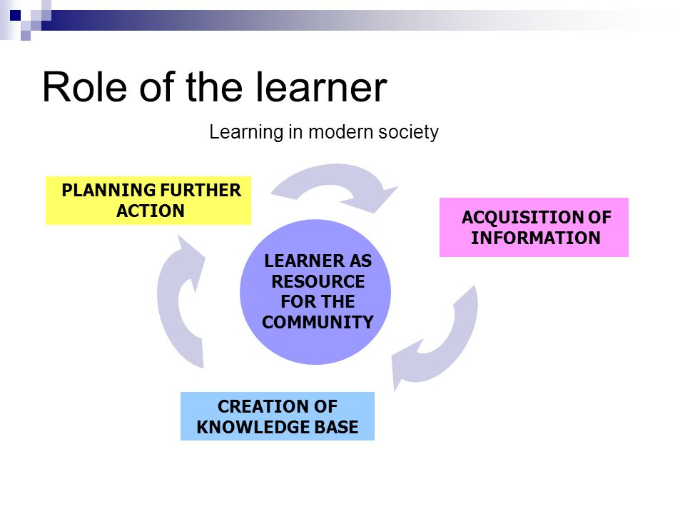 Role of the learner Learning in modern society PLANNING FURTHER ACTION