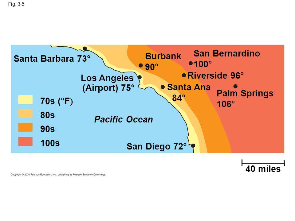 San Bernardino Burbank Santa Barbara 73° 100° 90° Riverside 96°