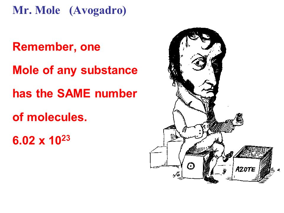 Mr. Mole (Avogadro) Remember, one. Mole of any substance.