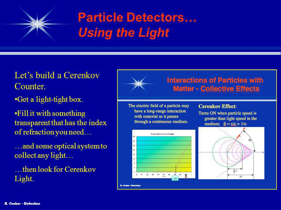 Particle Detectors… Using the Light