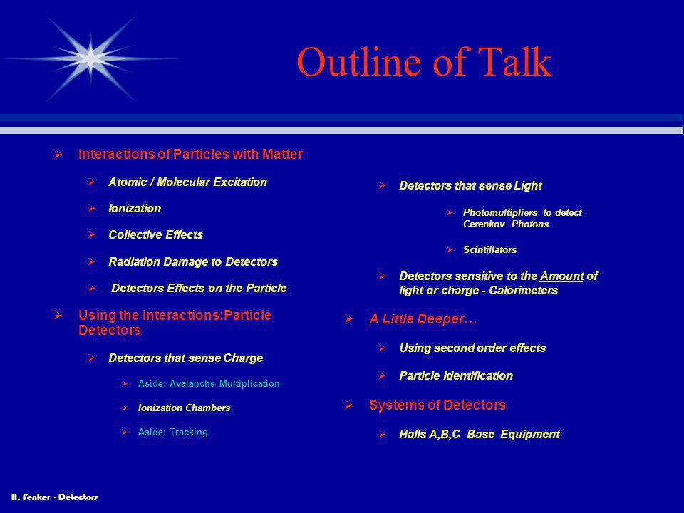 Outline of Talk Interactions of Particles with Matter