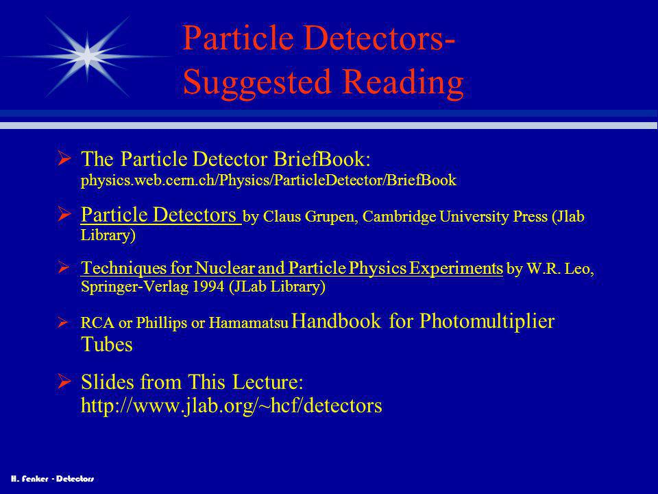 Particle Detectors- Suggested Reading