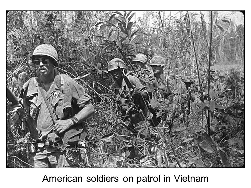 American soldiers on patrol in Vietnam