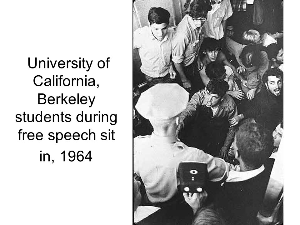 University of California, Berkeley students during free speech sit in, 1964