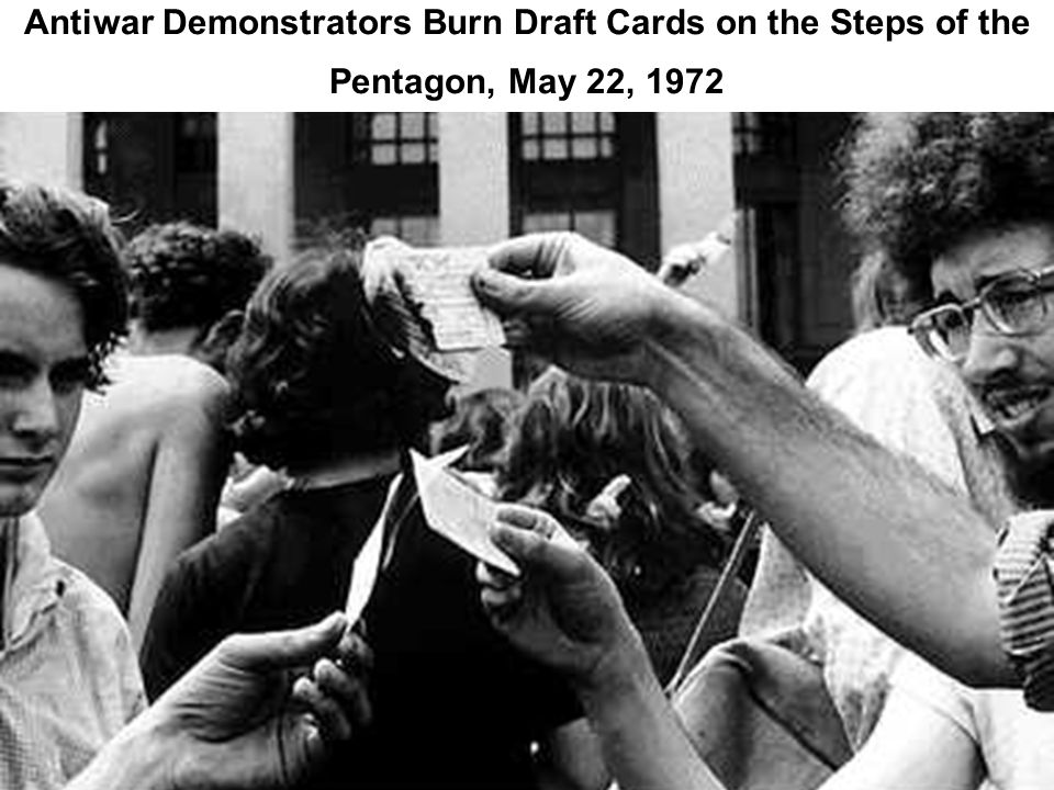 Antiwar Demonstrators Burn Draft Cards on the Steps of the Pentagon, May 22, 1972
