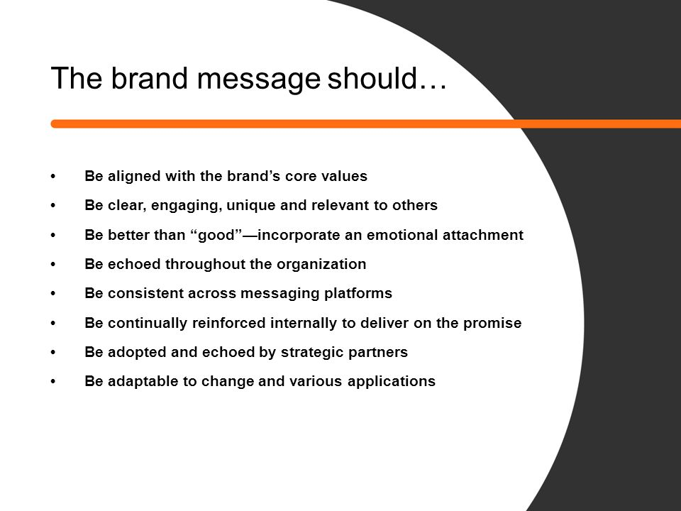 The brand message should…