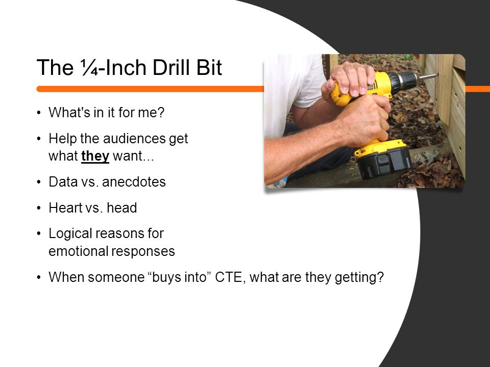 The ¼-Inch Drill Bit What s in it for me