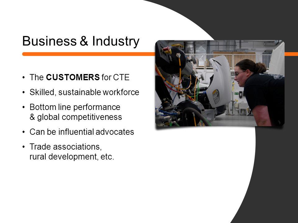 Business & Industry The CUSTOMERS for CTE