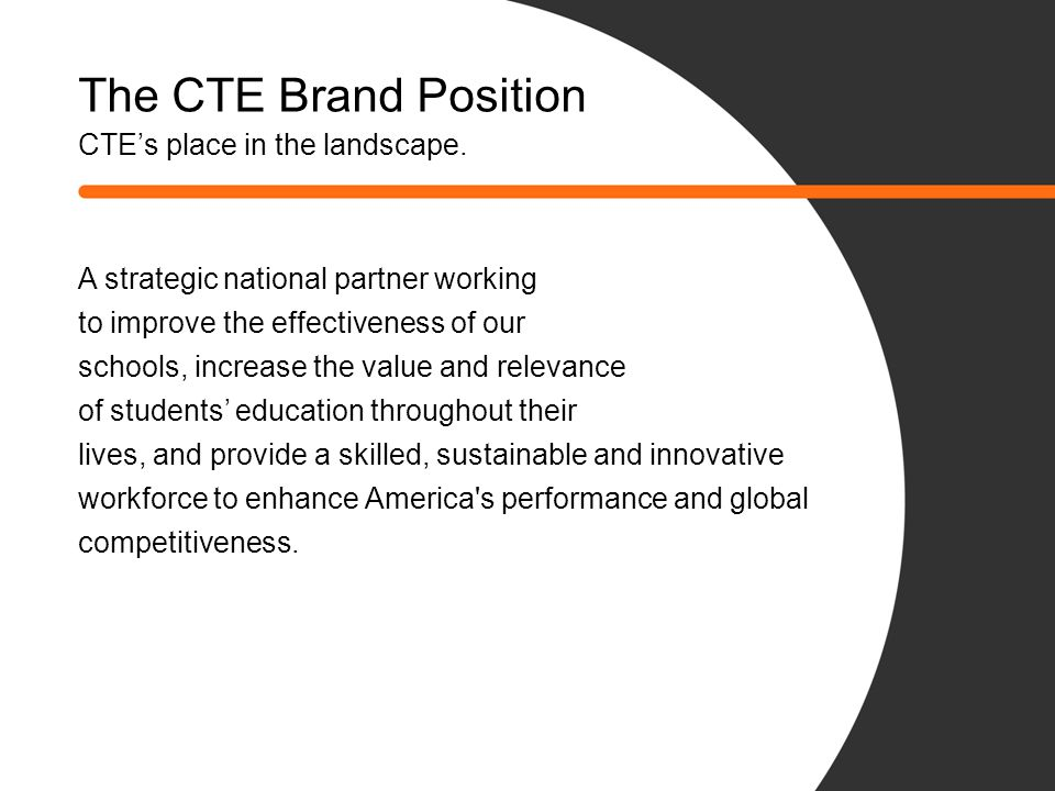 The CTE Brand Position CTE's place in the landscape.