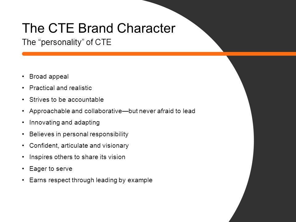 The CTE Brand Character The personality of CTE