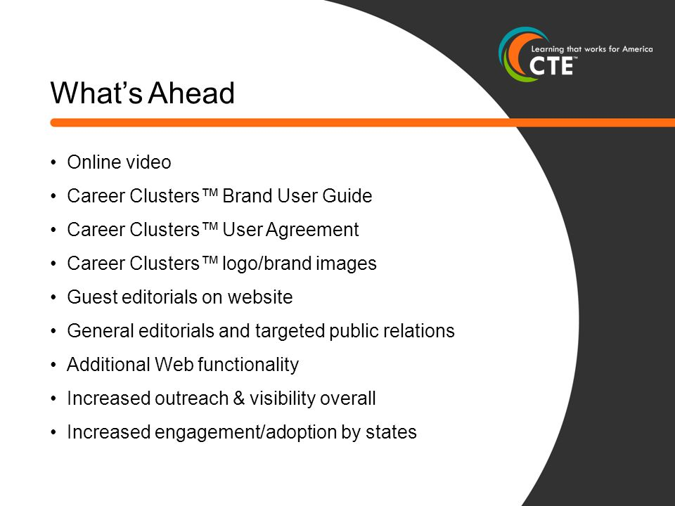 What's Ahead Online video Career Clusters™ Brand User Guide