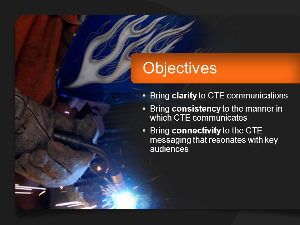 Objectives Bring clarity to CTE communications