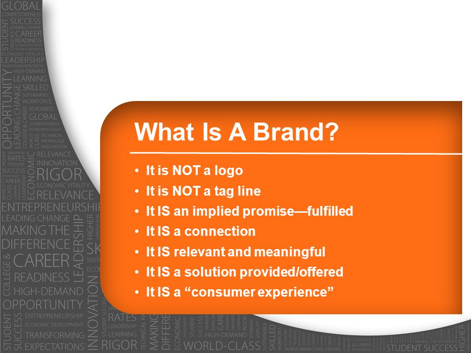What Is A Brand It is NOT a logo It is NOT a tag line