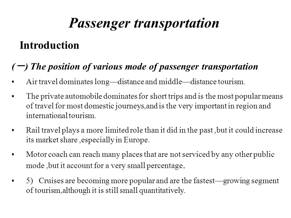 Passenger transportation