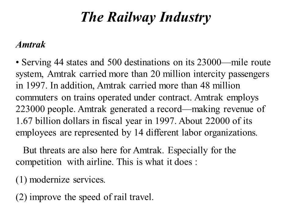 The Railway Industry Amtrak