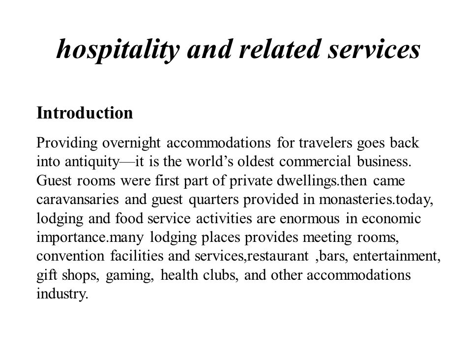 Introduction hospitality and related services