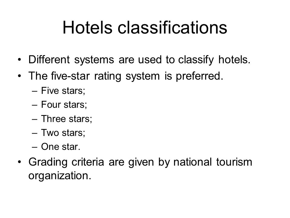 Hotels classifications