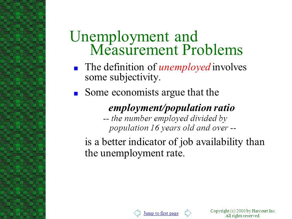 Unemployment and Measurement Problems