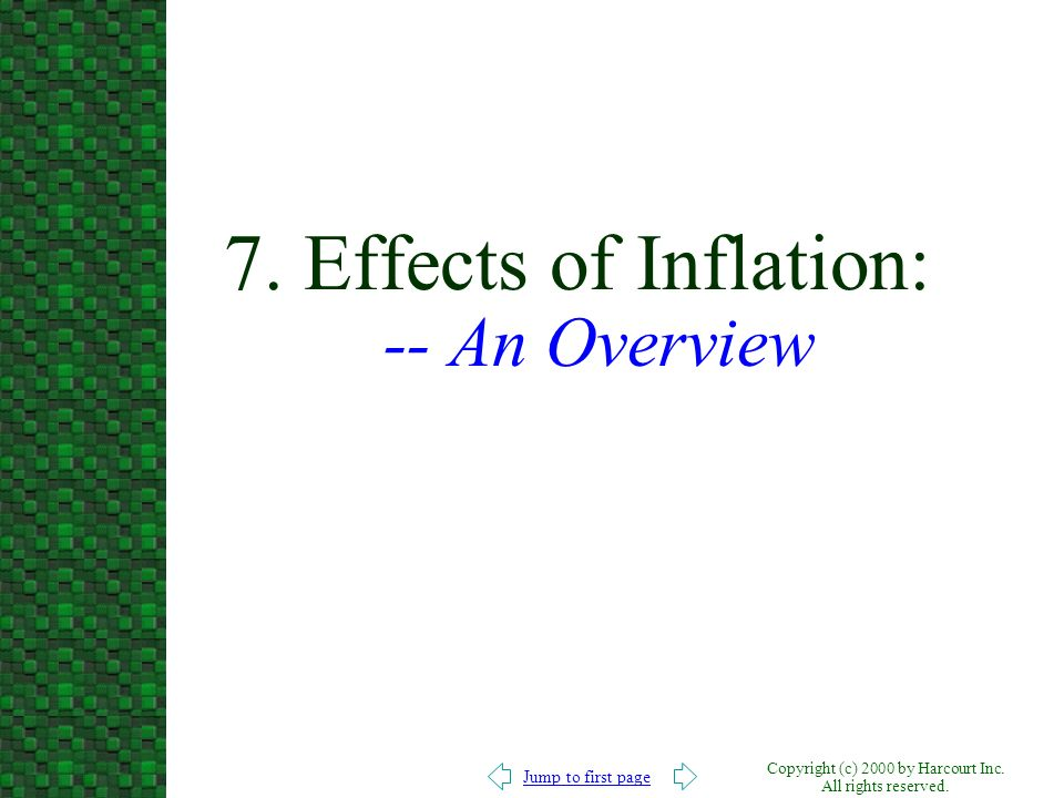 7. Effects of Inflation: -- An Overview