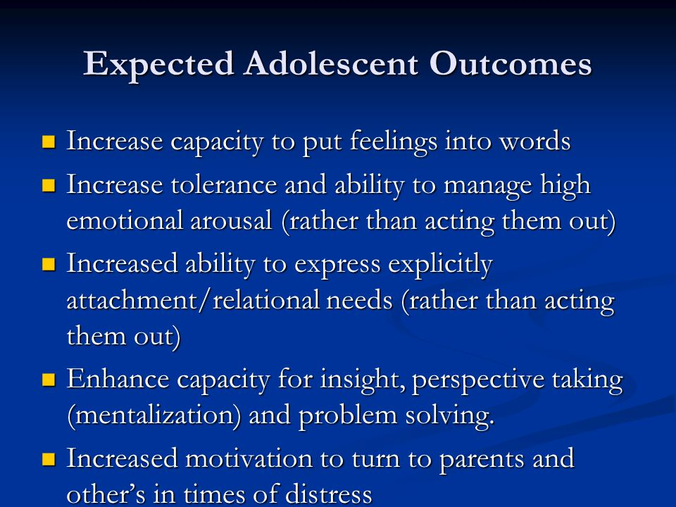 Expected Adolescent Outcomes