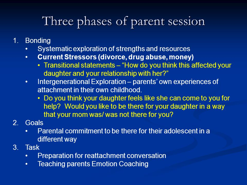 Three phases of parent session