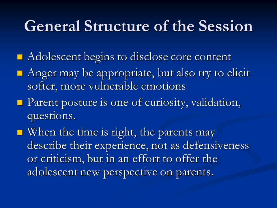 General Structure of the Session