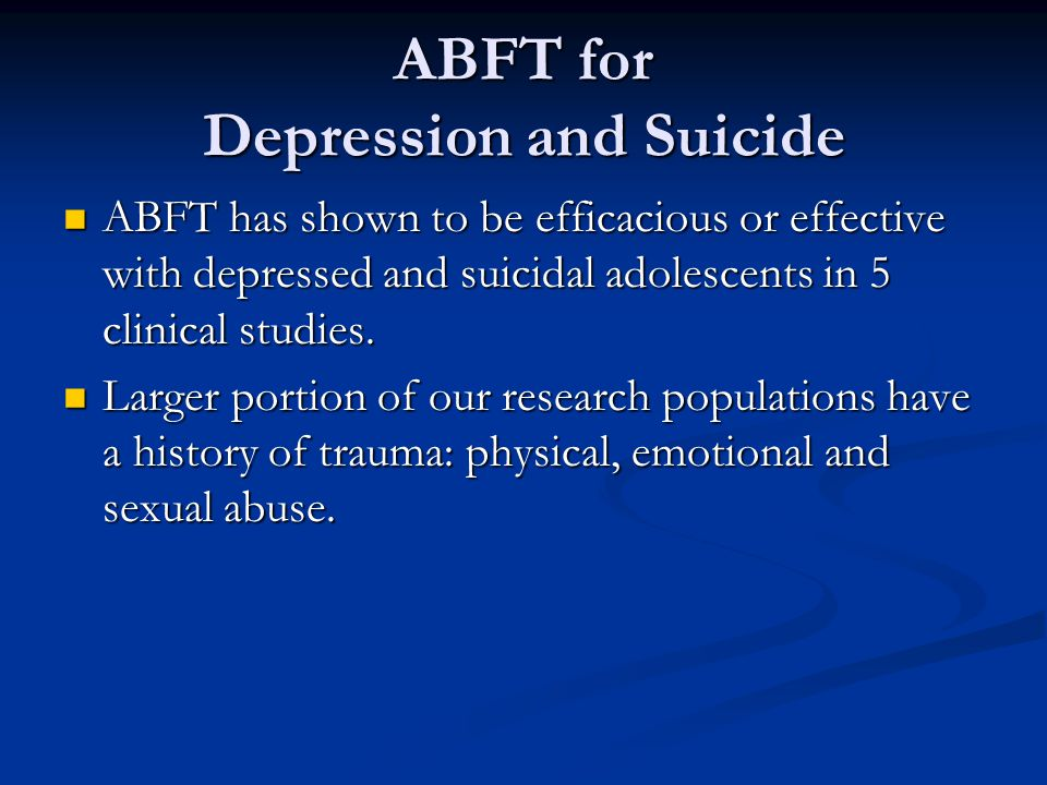 ABFT for Depression and Suicide