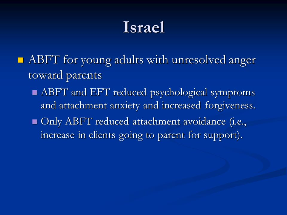 Israel ABFT for young adults with unresolved anger toward parents