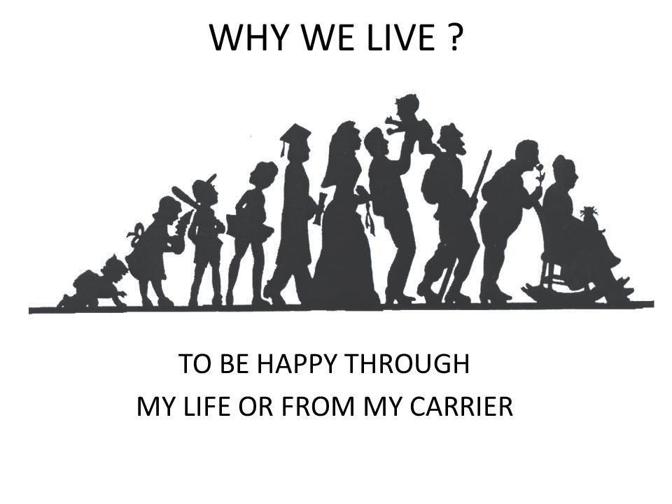 TO BE HAPPY THROUGH MY LIFE OR FROM MY CARRIER
