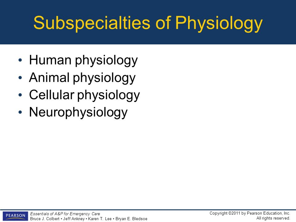Subspecialties of Physiology