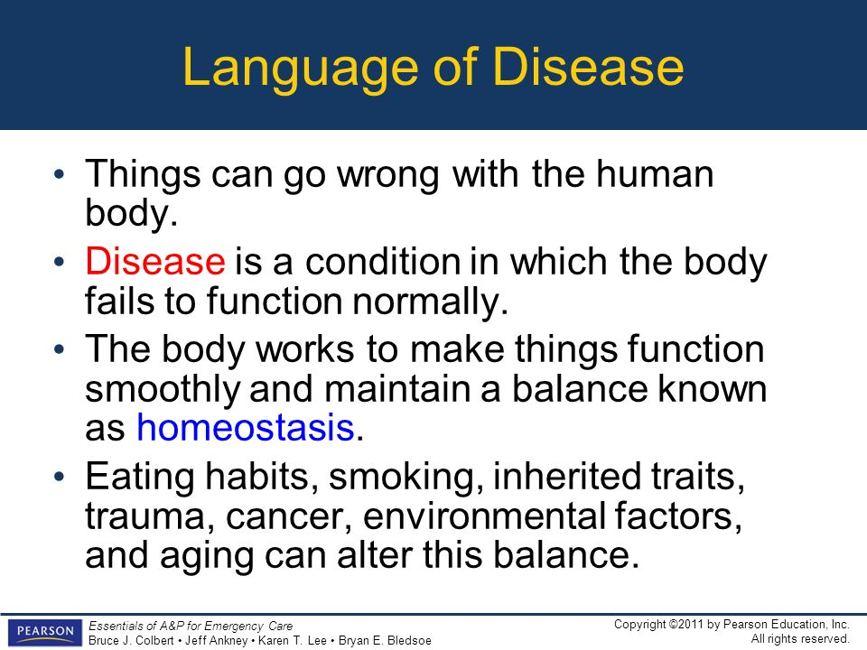 Language of Disease Things can go wrong with the human body.