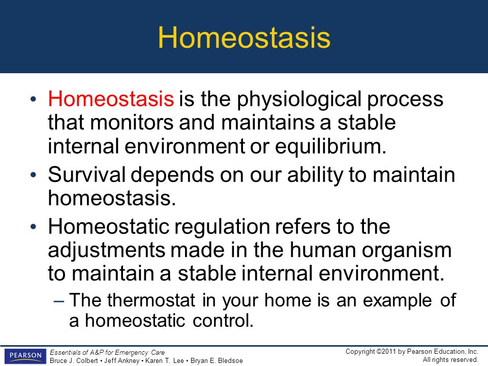 HomeostasisHomeostasis is the physiological process that monitors and maintains a stable internal environment or equilibrium.