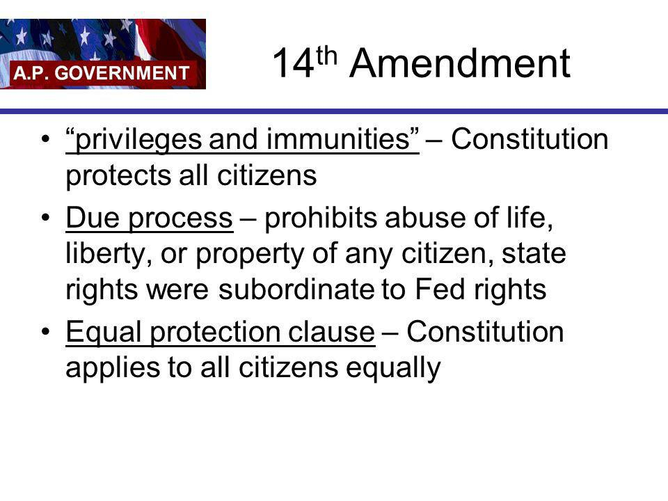 14th Amendment privileges and immunities – Constitution protects all citizens.
