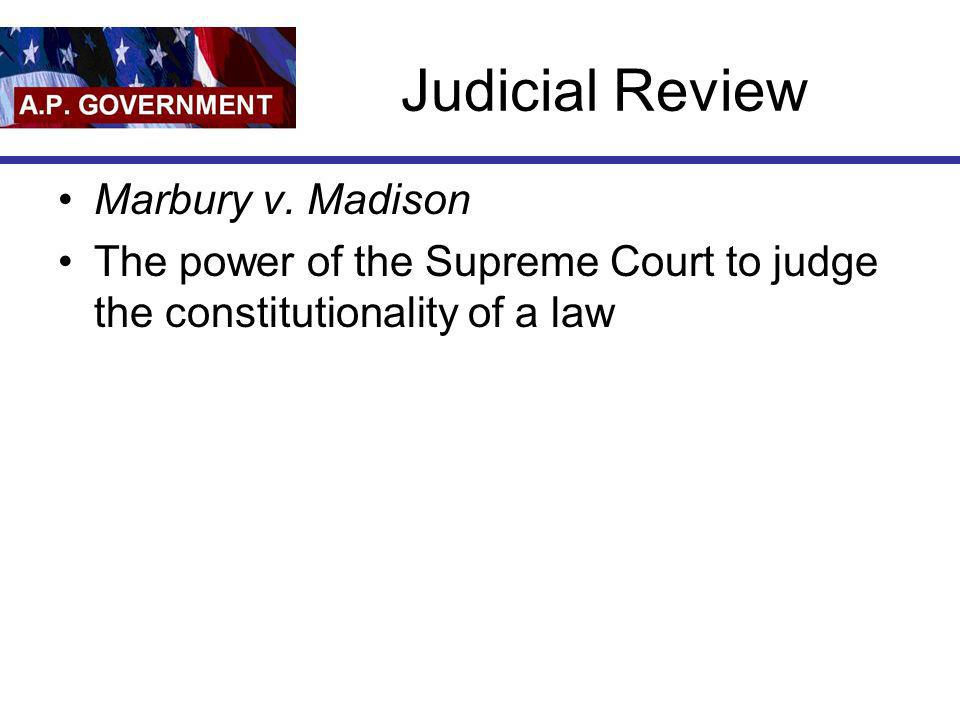 Judicial Review Marbury v. Madison