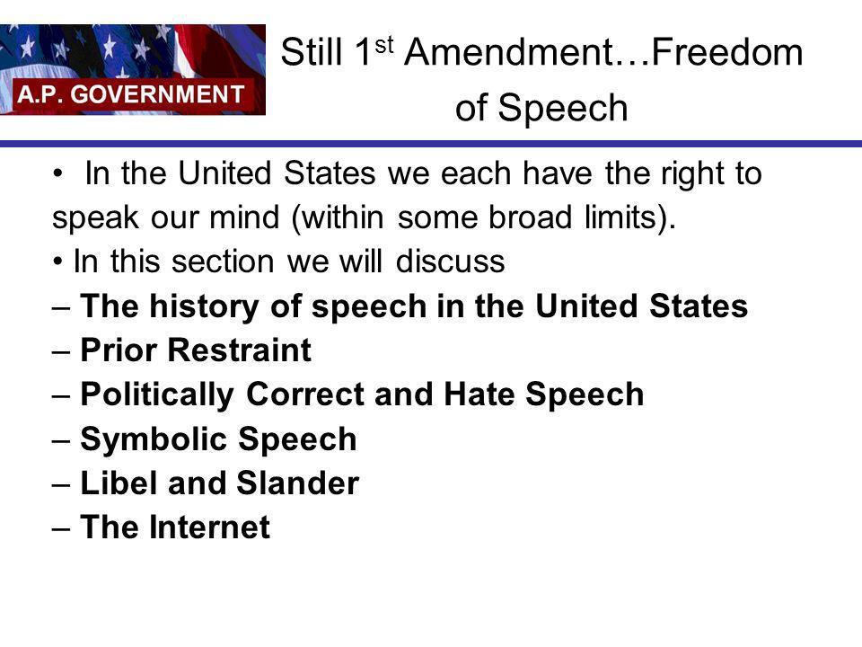 Still 1st Amendment…Freedom of Speech