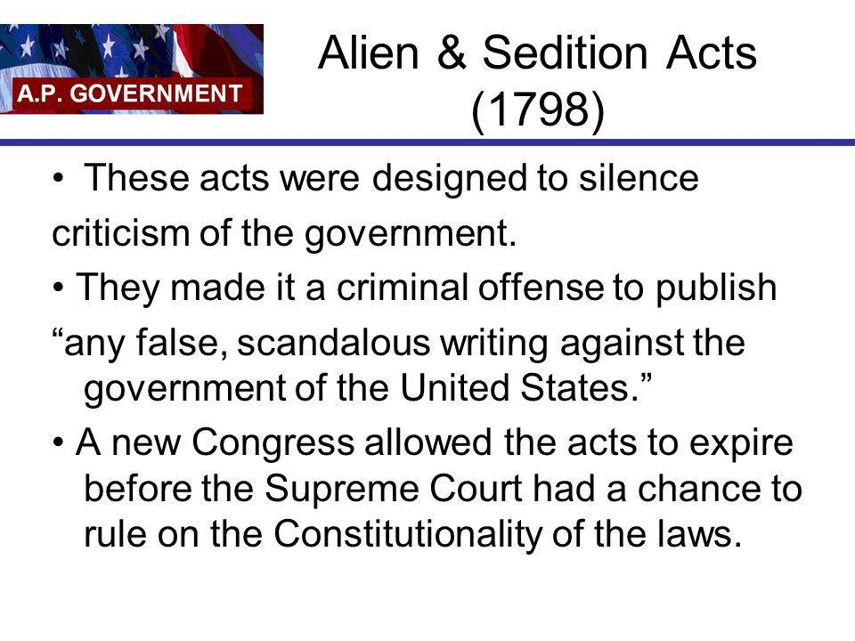 Alien & Sedition Acts (1798)