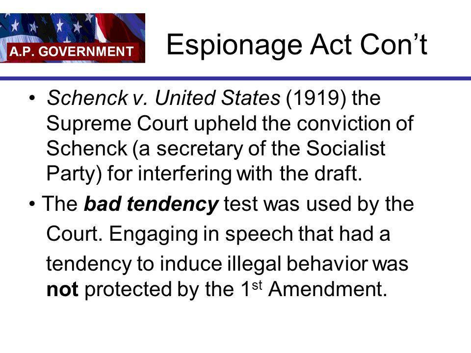 Espionage Act Con't