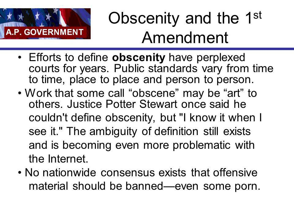 Obscenity and the 1st Amendment