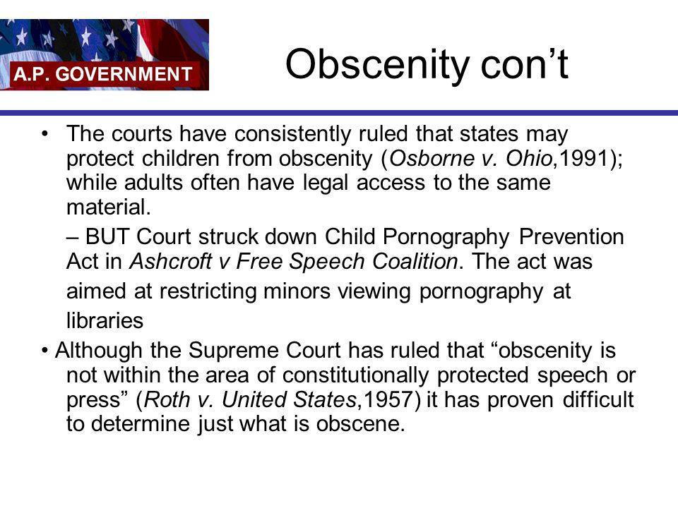 Obscenity con't