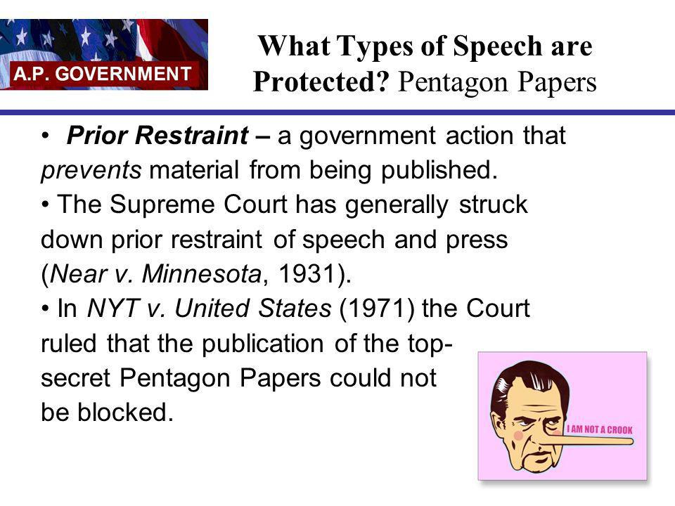 What Types of Speech are Protected Pentagon Papers