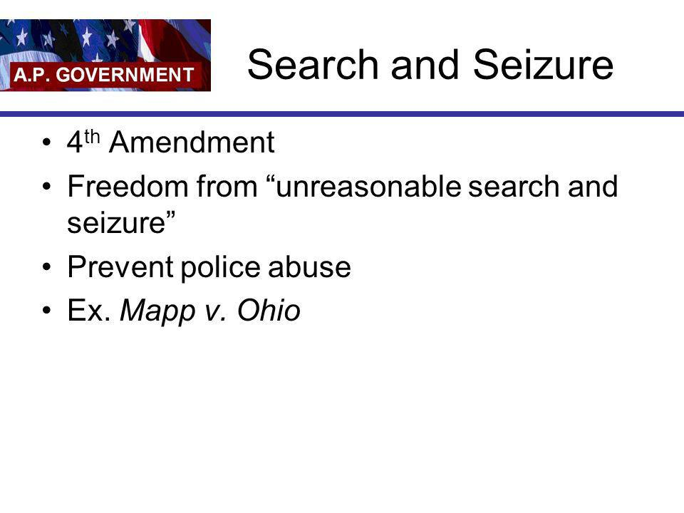 Search and Seizure 4th Amendment