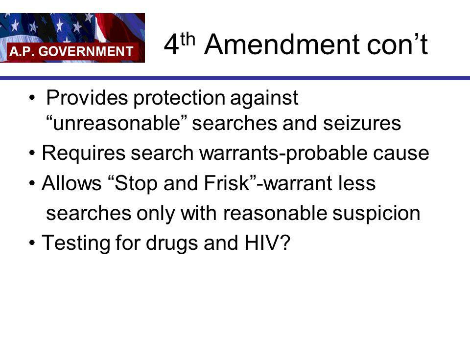 4th Amendment con't Provides protection against unreasonable searches and seizures. • Requires search warrants-probable cause.