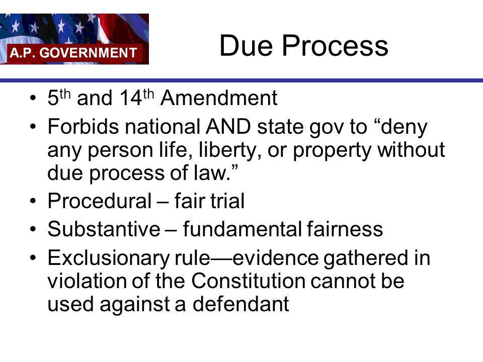 Due Process 5th and 14th Amendment