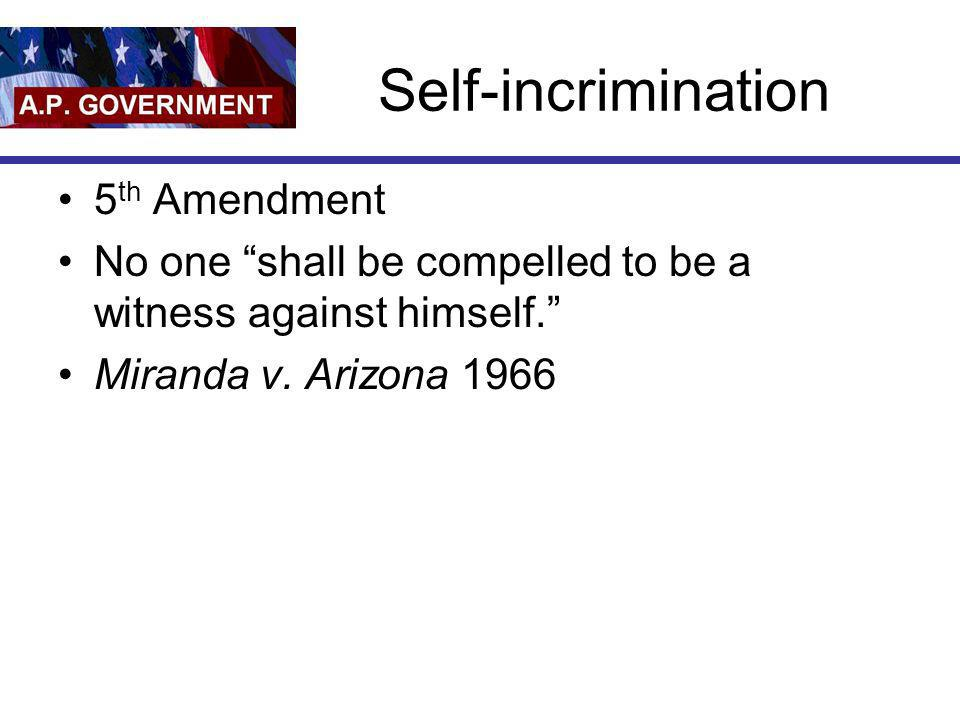 Self-incrimination 5th Amendment