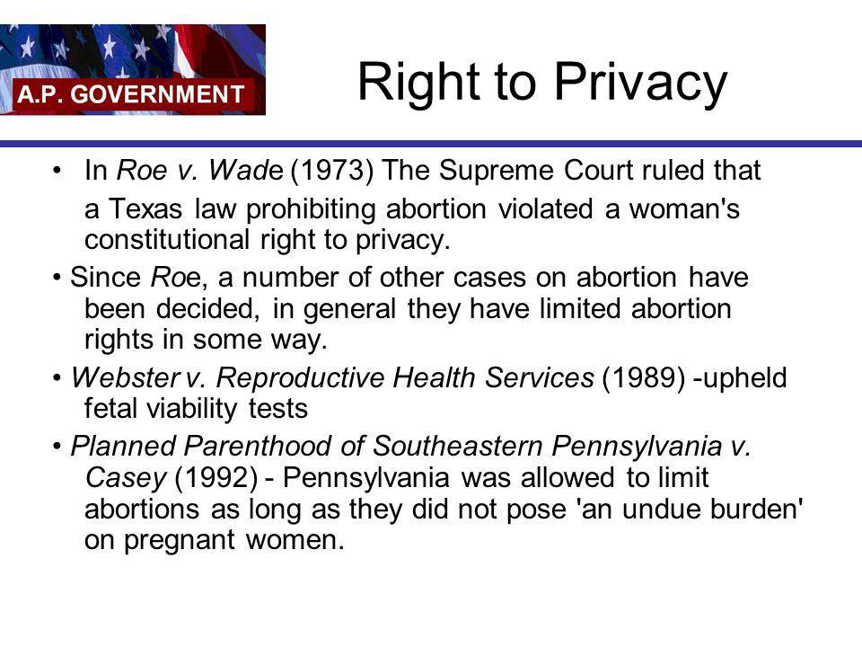 Right to Privacy In Roe v. Wade (1973) The Supreme Court ruled that