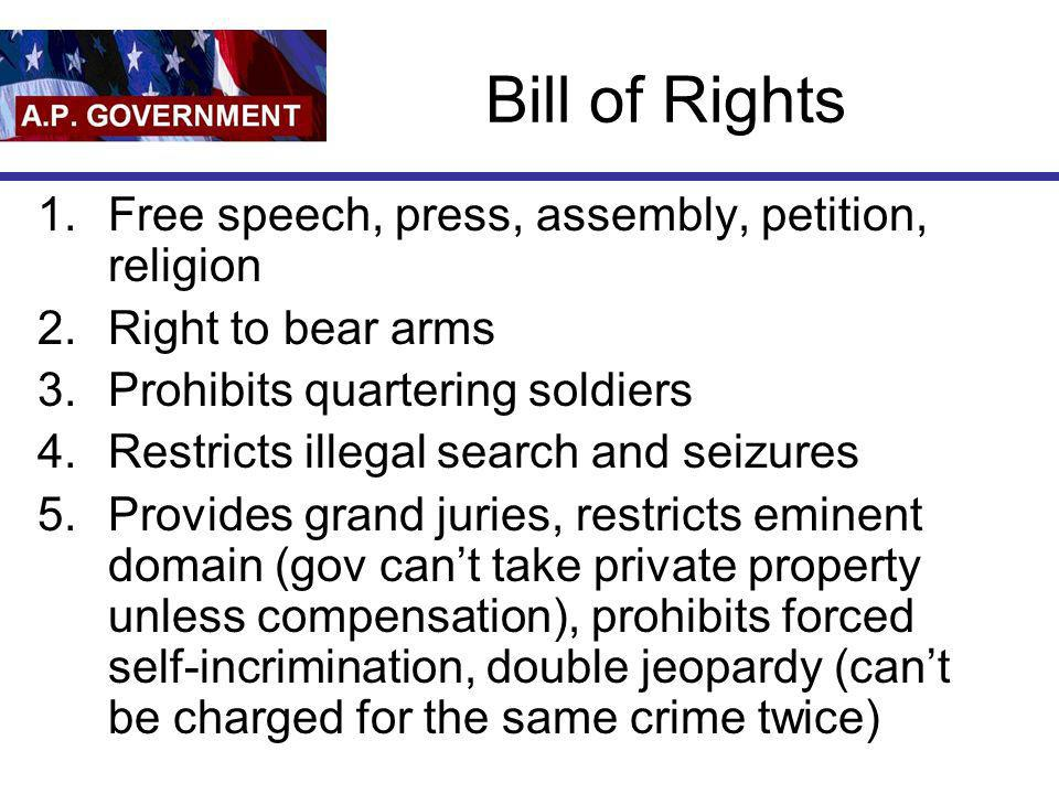 Bill of Rights Free speech, press, assembly, petition, religion