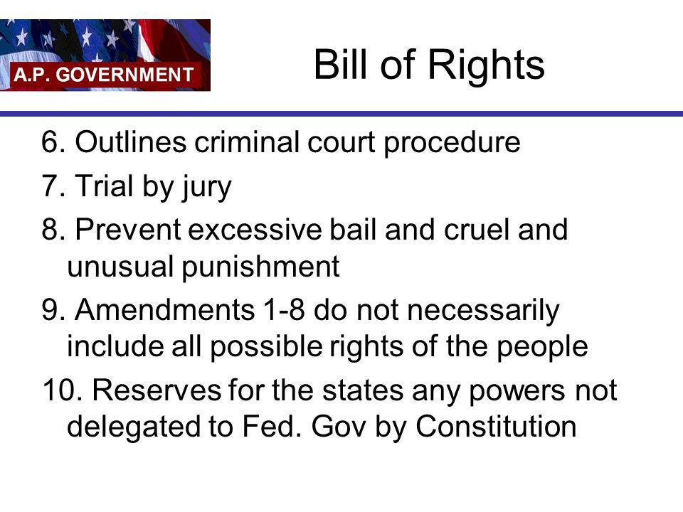 Bill of Rights 6. Outlines criminal court procedure 7. Trial by jury